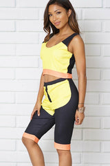 TWO PIECE SETS TANK TOP AND SHORLTS COLOR BLOCK