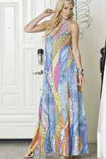 FLORAL LOOSE FIT HALTER SUN MAXI DRESS