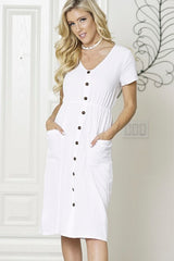 FRONT BUTTON POCKET SUN CASUAL DRESS