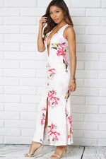 Plunge Neck Sleeveless Maxi Dress