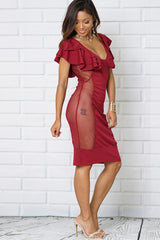 TRIPLE RUFFLE SLEEVE MESH PARTY DRESS