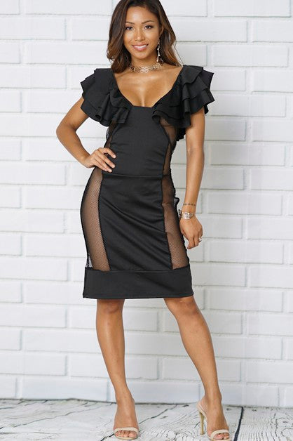 Ruffle Scoop Neck Mesh Sexy Body-Con Dress