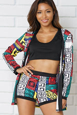 2 SETS KIMONA CAMI TOP SHORTS SWASTIKA PATTERN