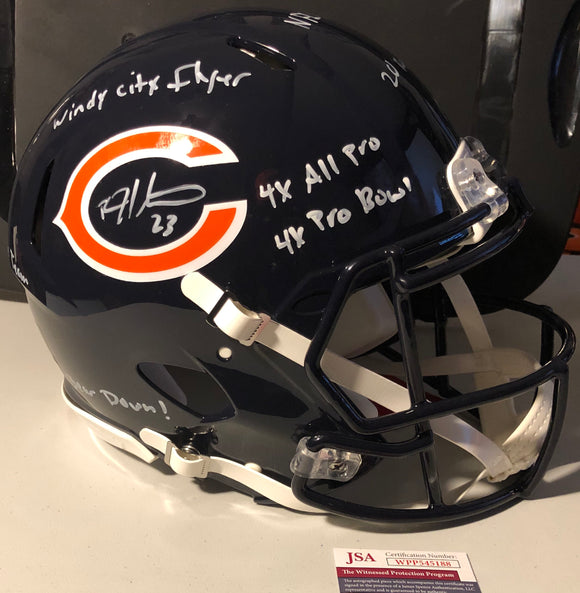 DEVIN HESTER Autographed Chicago Bears Navy Authentic Speed Full Size Helmet