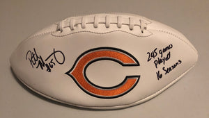 "PATRICK MANNELLY Autographed ""245 Games Played"" & ""16 Season"" Chicago Bears White Panel Football JSA COA"