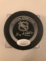 Mario Lemieux Autographed Pittsburgh Penguins Official Game Hockey Puck JSA COA