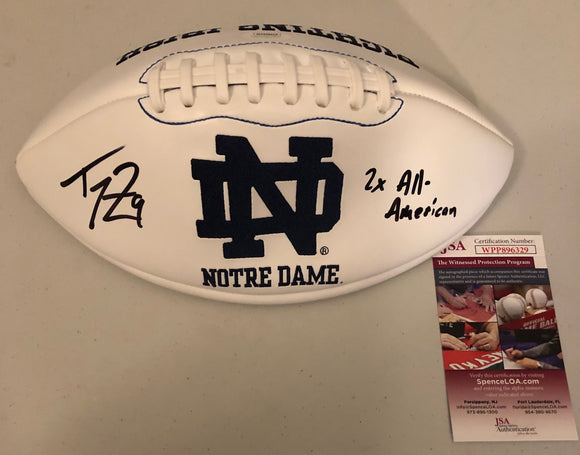 "TOM ZBIKOWSKI Autographed ""2x All-American"" Inscription Notre Dame Fighting Irish White Panel Football JSA COA"