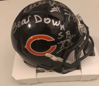 "Keith Van Horne Autographed Chicago Bears Navy Speed Mini Helmet ""Bear Down"" ""S.B. XX"" JSA COA"