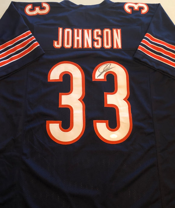 JAYLON JOHNSON Autographed Chicago Bears Navy Football Jersey JSA COA