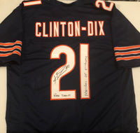 "HAHA CLINTON-DIX Autographed ""Monsters of Midway & Bear Down"" Chicago Bears Navy Football Jersey JSA COA"