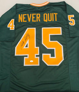 RUDY RUETTIGER Autographed Notre Dame Fighting Irish Green Football Jersey NEVER QUIT Nameplate JSA COA