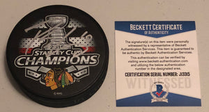 PATRICK SHARP Autographed 2015 Stanley Cup Champions Chicago Blackhawks Hockey Puck Beckett COA