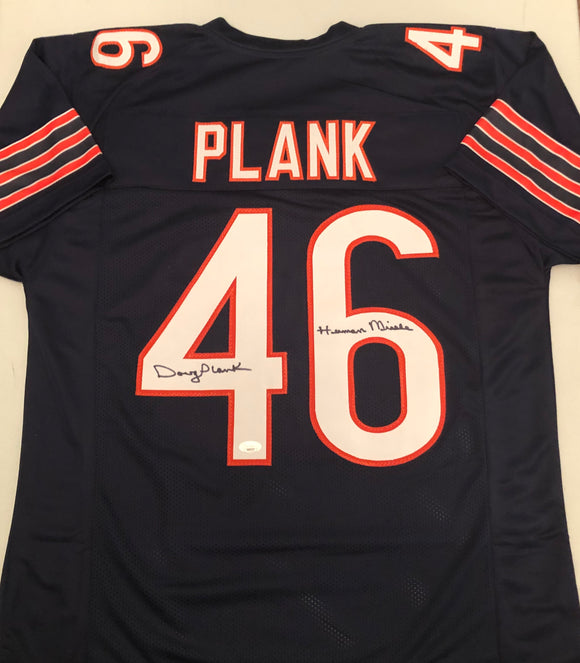 DOUG PLANK Autographed Inscription Human Missile Chicago Bears Navy Football Jersey JSA COA