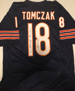 "MIKE TOMZCAK Autographed Navy Chicago Bears Football Jersey ""S.B. XX Champs"" JSA COA"
