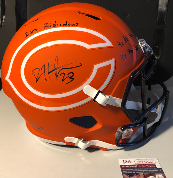 "DEVIN HESTER Autographed Chicago Bears Orange AMP Replica Full Size Helmet ""Full Career Stats"" JSA COA"