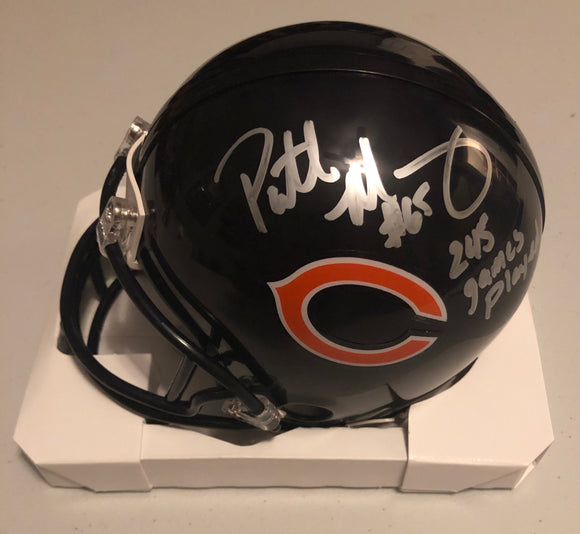 "PATRICK MANNELLY Autographed Chicago Bears Navy Mini Helmet ""245 Games Played"""