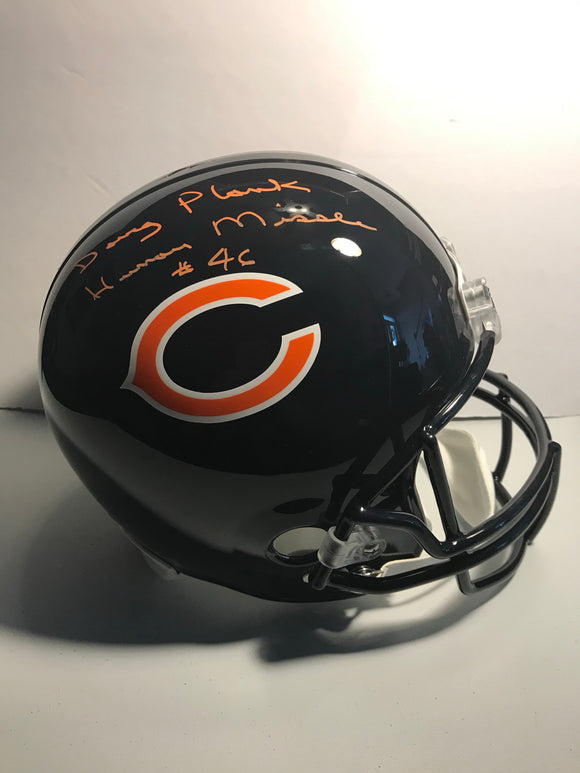 DOUG PLANK Autographed Inscription Human Missile #46 Chicago Bears Navy Replica Full Size Helmet JSA COA