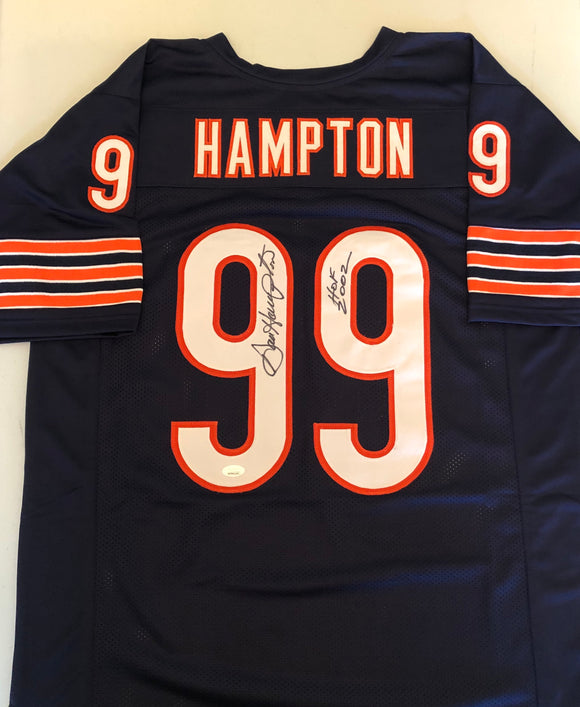 DAN HAMPTON Autographed Inscription HOF 2002 Chicago Bears Navy Football Jersey JSA COA