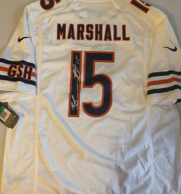 BRANDON MARSHALL Autographed Chicago Bears Nike Authentic White Football Jersey JSA COA