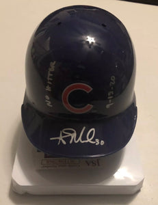 "ALEC MILLS Autographed Chicago Cubs Blue Mini Batting Helmet ""No Hitter 9.13.20"" JSA COA"