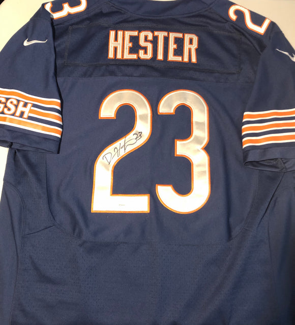 DEVIN HESTER Autographed Chicago Bears Navy Football Jersey JSA COA