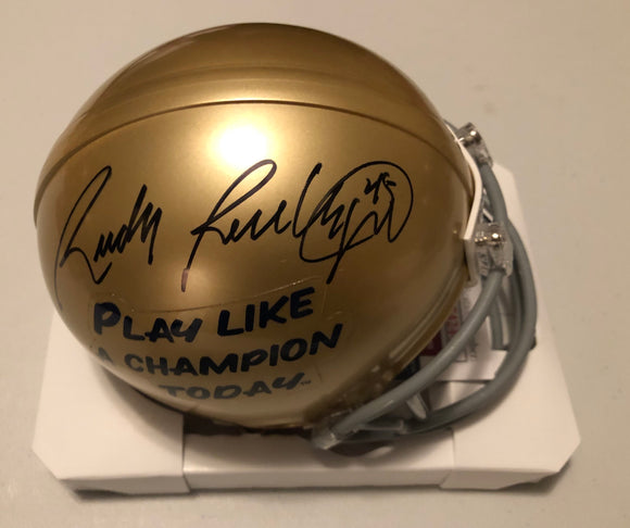 RUDY RUETTIGER Autographed Notre Dame Fighting Irish Gold Play Like A Champion Today Mini Helmet JSA COA