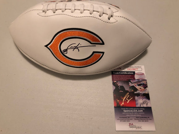 DENNIS MCKINNON Autographed Chicago Bears White Panel Football JSA COA