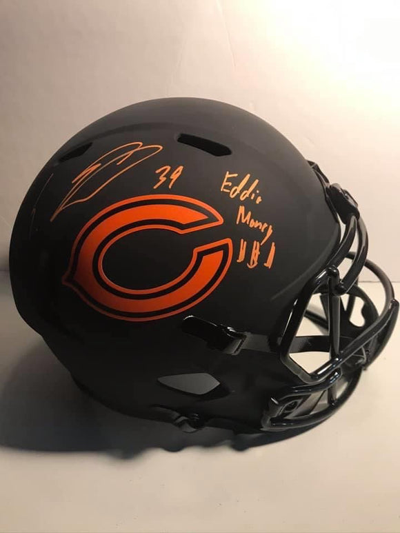 EDDIE JACKSON Autographed Inscription Eddie Money $$$ Alternative Eclipse Chicago Bears Speed Replica Full Size Helmet JSA COA