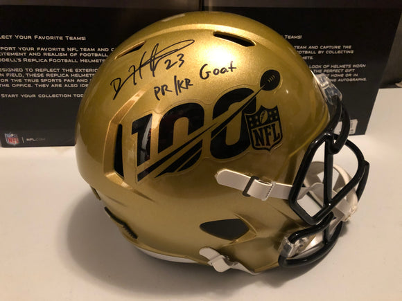 DEVIN HESTER Autographed Inscription PR/KR GOAT Alternative Gold 100 Year Anniversary Speed Replica Full Size Helmet JSA COA
