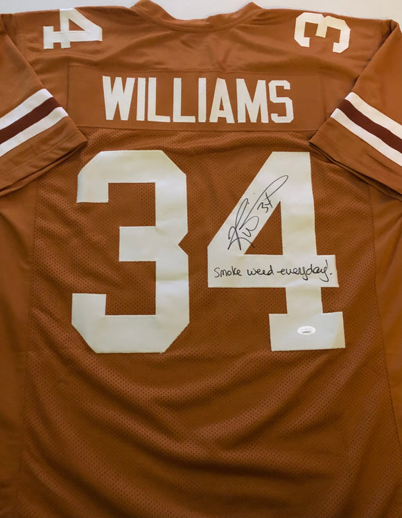RICKY WILLIAMS Autographed Smoke Weed Everyday! Inscription Texas Longhorns Burnt Orange Football Jersey JSA COA