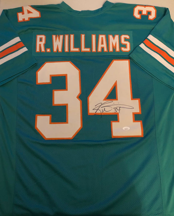 RICKY WILLIAMS Autographed Miami Dolphins Aqua Football Jersey JSA COA