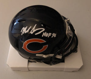 MIKE SINGLETARY Autographed Inscription HOF 98 Chicago Bears Speed Mini Helmet JSA COA