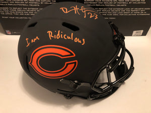 DEVIN HESTER Autographed Inscription I am Ridiculous   Alternative Eclipse Chicago Bears Speed Replica Full Size Helmet Beckett COA
