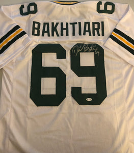 DAVID BAKHTIARI Autographed Green Bay Packers White Football Jersey Beckett COA