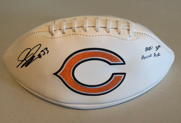 "JAYLON JOHNSON Autographed ""2020 50th Overall Pick"" Chicago Bears White Panel Football JSA COA"