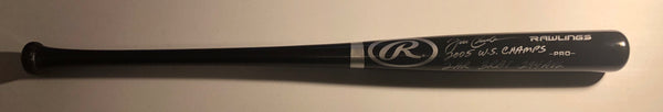 "JOE CREDE Autographed Rawlings Black Full Size Wood Bat ""W.S. Stats"" Silver Ink JSA COA"