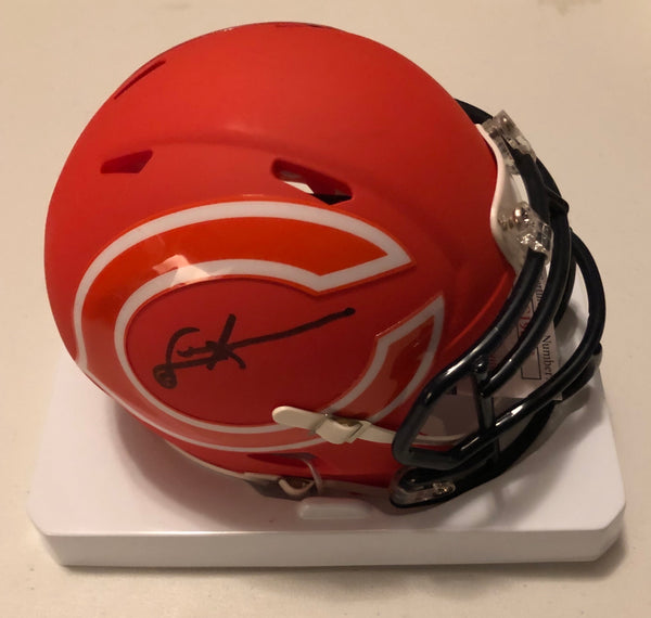 DENNIS MCKINNON Autographed Chicago Bears Orange AMP Mini Helmet JSA COA