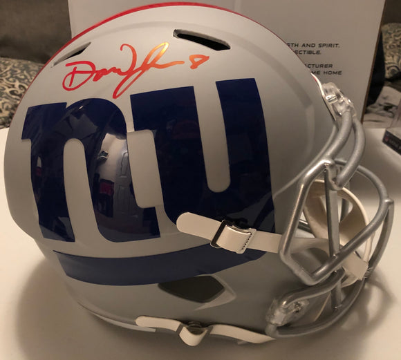DANIEL JONES Autographed New York Giants Grey AMP Replica Full Size Helmet JSA COA