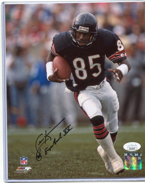 "DENNIS MCKINNON Autographed 8x10 Photo Chicago Bears Black Ink ""Super Bowl XX"" JSA COA"