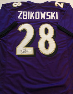 TOM ZBIKOWSKI Autographed Baltimore Ravens Purple Football Jersey JSA COA