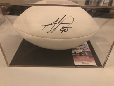 "Julius Peppers Autographed ""The Duke"" White Panel Football JSA COA"