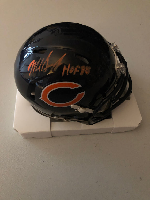 MIKE SINGLETARY - Autographed Inscription - HOF 98 - Chicago Bears Speed Mini Helmet - JSA Certificate of Authenticity - Orange Ink