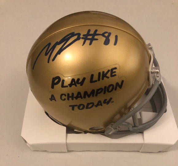 MILES BOYKIN Autographed Notre Dame Fighting Irish Gold Play Like A Champion Today Mini Helmet JSA COA