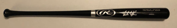 ANDREW VAUGHN Autographed Black Full Size Wood Bat White Ink Beckett COA