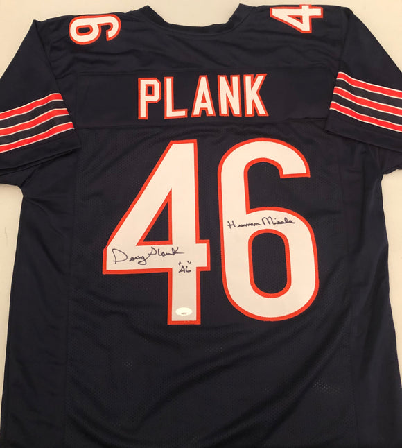 DOUG PLANK Autographed Inscriptions Human Missile & 46 Chicago Bears Navy Football Jersey JSA COA