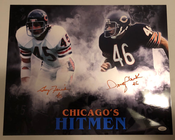 GARY FENCIK & DOUG PLANK Dual Autographed Custom Chicago's HITMEN Metallic 16x20 Photo Chicago Bears JSA COA