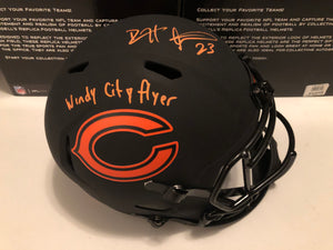 DEVIN HESTER Autographed Inscription Windy City Flyer Alternative Eclipse Chicago Bears Speed Replica Full Size Helmet Beckett COA