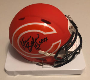 "KEVIN BUTLER Autographed Chicago Bears Orange AMP Speed Mini Helmet ""SB XX"" JSA COA"