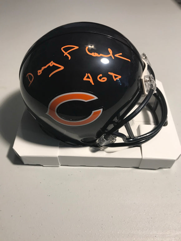 DOUG PLANK Autographed Inscription 46D Chicago Bears Mini Helmet JSA COA