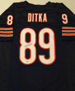 MIKE DITKA Autographed Chicago Bears Navy Football Jersey Beckett COA